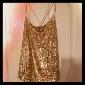 Gold sequin crop top